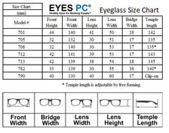 EYES PC Eyeglass Size Chart