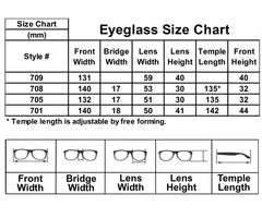 Glasses Frames Size Chart | CINEMAS 93