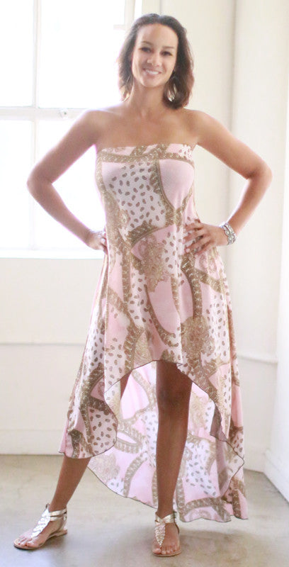 Riley Strapless Dress (Baby Pink Paisley)
