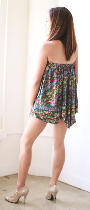 Zenaida Strapless Romper (Botanical Beauty)