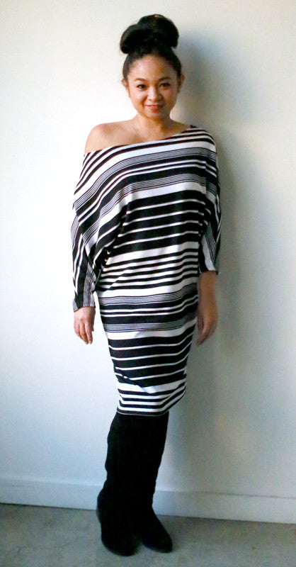 Astrid Tee Dress (Black Barcode)