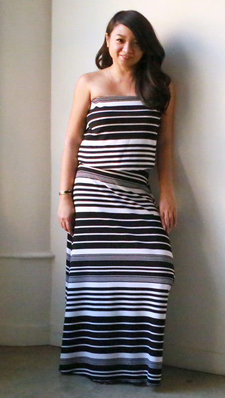 Eileen Strapless Dress (Black Barcode)
