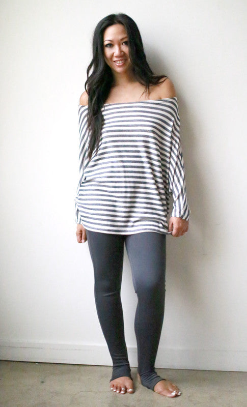 Astrid Top (Black Stripe Reverse Terry)