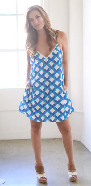 Ella Mini Dress (Blueberry Cube)