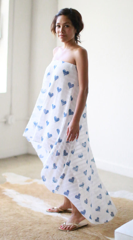 Riley Strapless Dress (Blue Hearts)