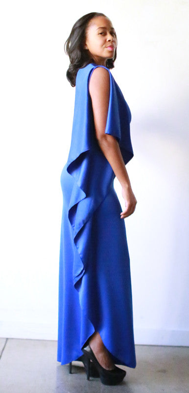 Chrissy Open Shoulder Dress (Blue Sapphire)