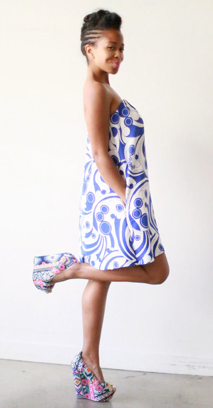Corsican Mini Dress (Blue Swirl)