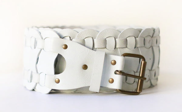 Woven Leather Belt (White)