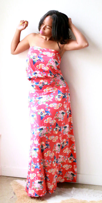 Eileen Strapless Dress (Chinoiserie)