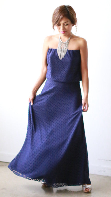 Eileen Strapless Dress (Navy Halo Lace)