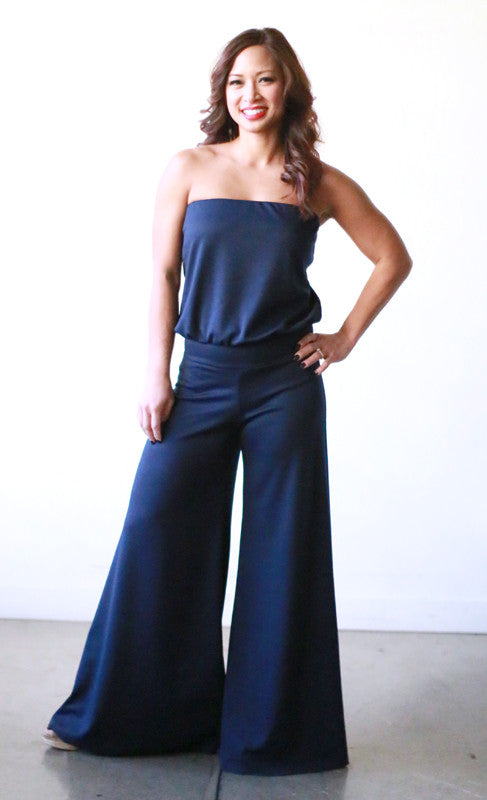 Annette Jumpsuit (Navy Ponte Roma)