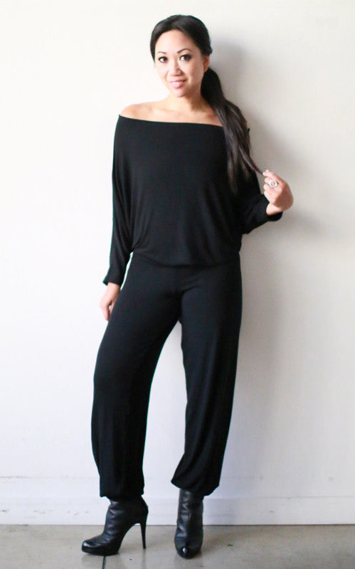 Astrid Jumpsuit w/ Banded Bottoms (Noir Knit)