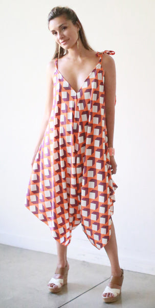 Ikaika Jumpsuit (Orange Cube)