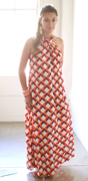 Makena Dress (Orange Cube)