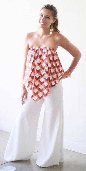 Zenaida Strapless Top (Orange Cube)
