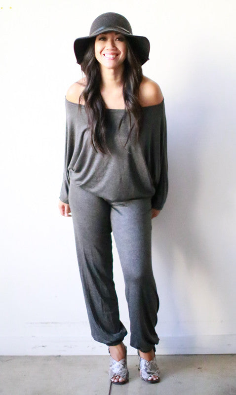 Astrid Jumpsuit w/ Banded Bottoms (Pewter)