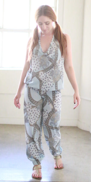 Sarah Jumpsuit w/ Banded Bottoms (Powder Blue Paisley)