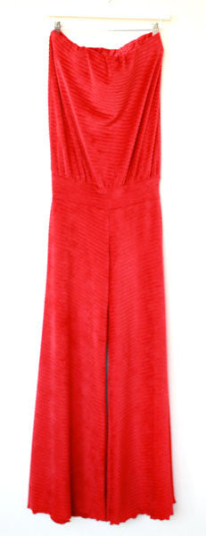 Annette Jumpsuit (Red Ribbed Velour)