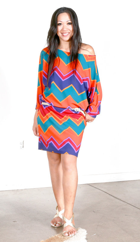 Astrid Tee Dress (Rio Chevron)