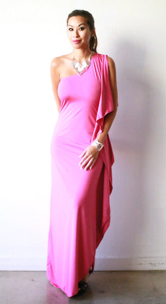 Chrissy Open Shoulder Dress (Rubellite)