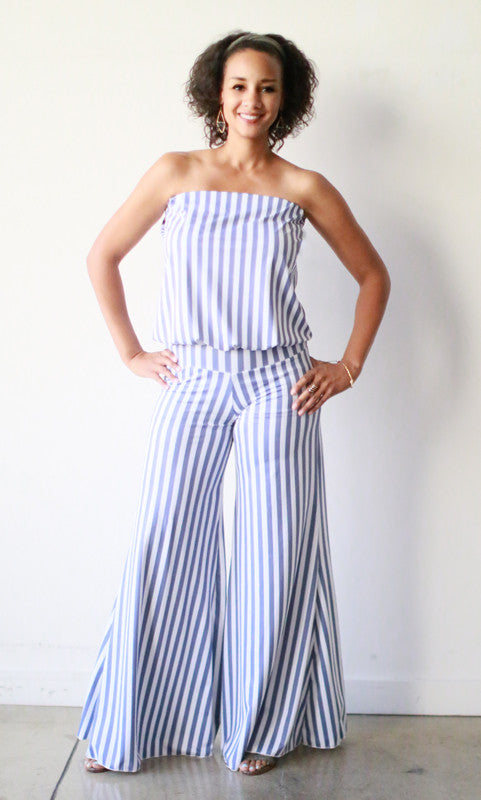 Annette Jumpsuit (Slate Stripes)