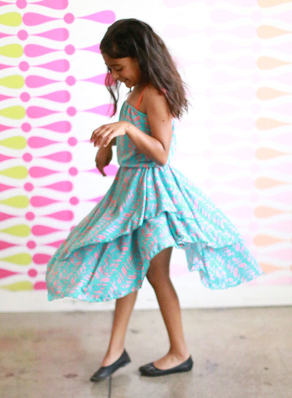 Girls Iceis Dress (Turquoise Feathers)