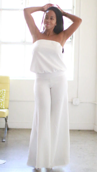 Annette Jumpsuit (White Embossed Flowers)