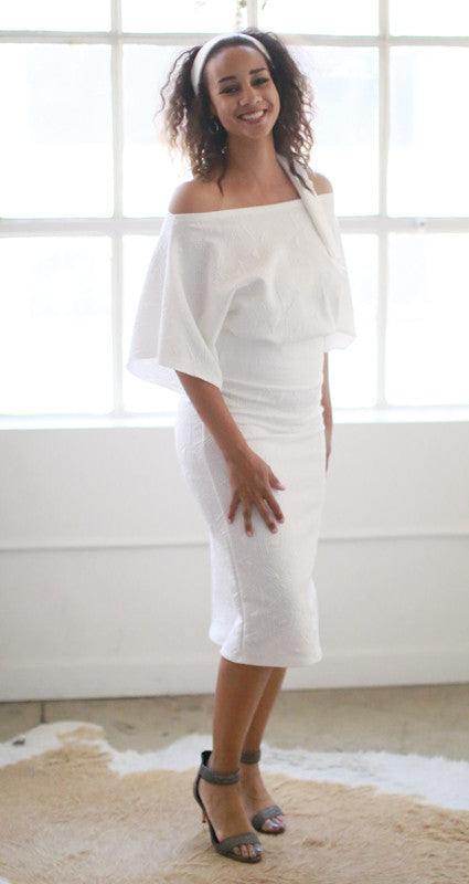Astrid Pencil Skirt (White Quilt)