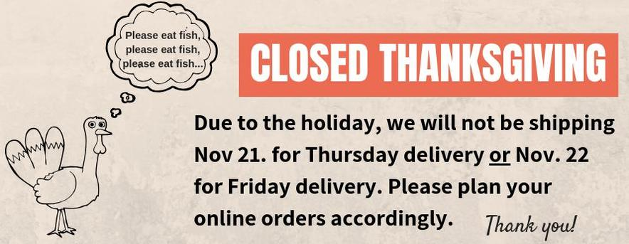 Thanksgiving Shipping Schedule