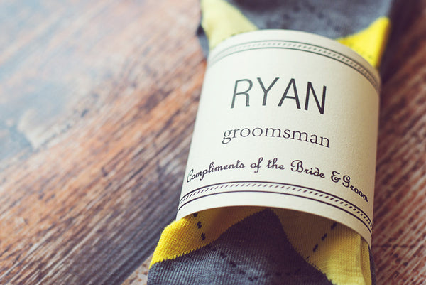 Personalized Groomsmen Gift for Wedding Argyle Socks and Label