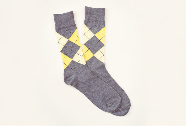 Yellow and Gray Argyle Socks