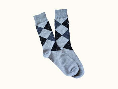 Gray and Black Argyle Men's Dress Socks