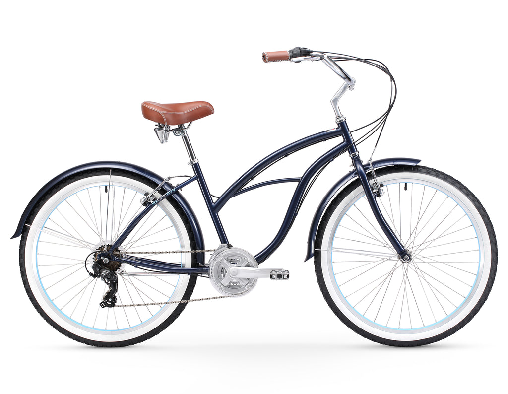 "sixthreezero Classic Women's 26"" 21 Speed Beach Cruiser Bicycle"