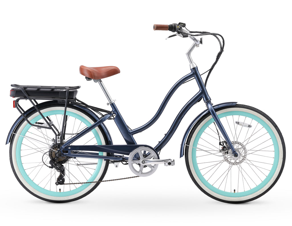 "sixthreezero EVRYjourney Women's 26"" 250W Seven Speed Step-Through Touring Hybrid Bicycle"