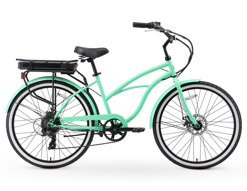 "sixthreezero Around the Block Women's 26"" 500W 7 Speed Beach Cruiser Bicycle"