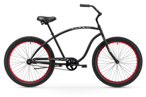 "Firmstrong Chief 3.0 Single Single Speed, Matte Black with Red Rims- Men's 26"" Beach Cruiser Bike"