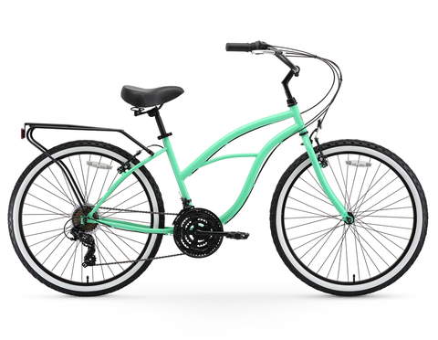 "sixthreezero Around the Block Women's 24"" 21 Speed Beach Cruiser Bicycle with Rear Rack"