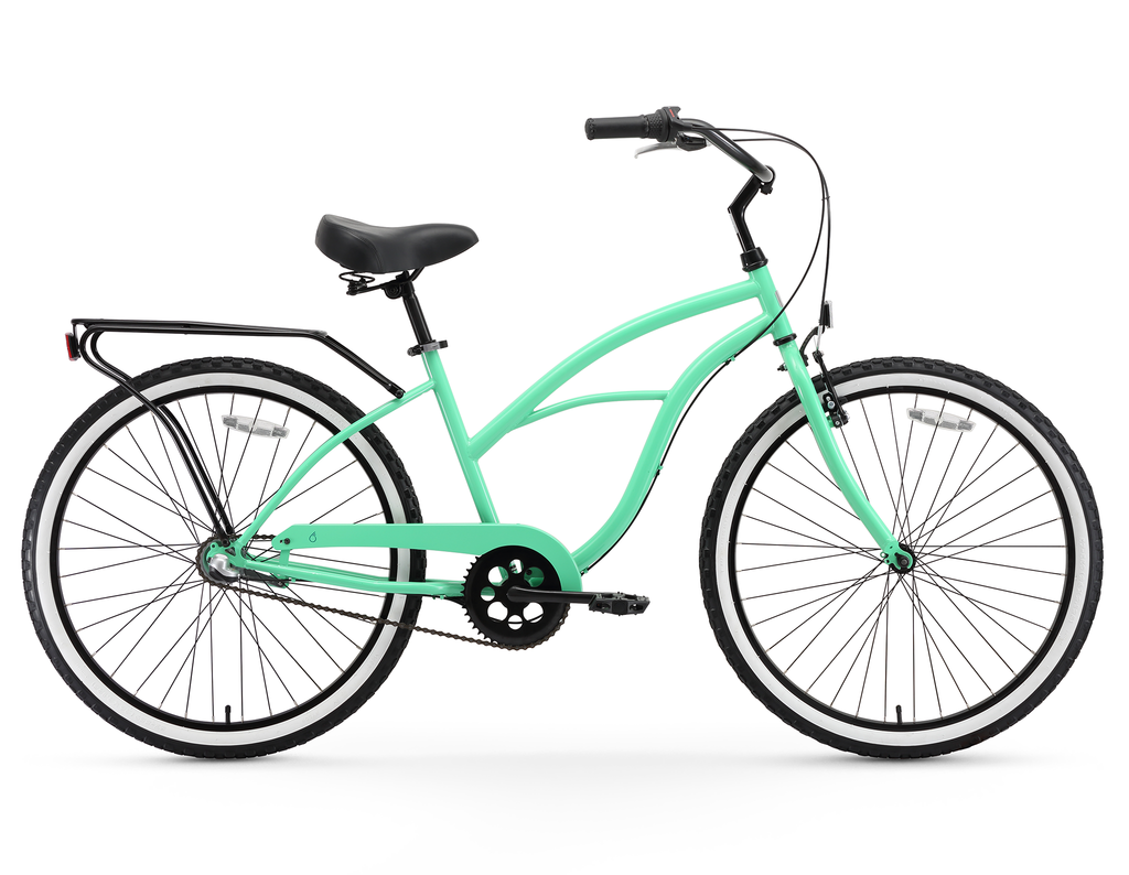 "sixthreezero Around the Block Women's 24"" Three Speed Beach Cruiser Bicycle with Rear Rack"