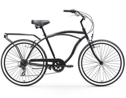 "sixthreezero Around the Block Men 24"" 7 Speed Beach Cruiser Bicycle with Rear Rack"