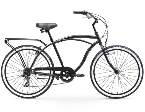 sixthreezero Around The Block Men's 26-Inch Seven Speed Cruiser Bike, Matte Black