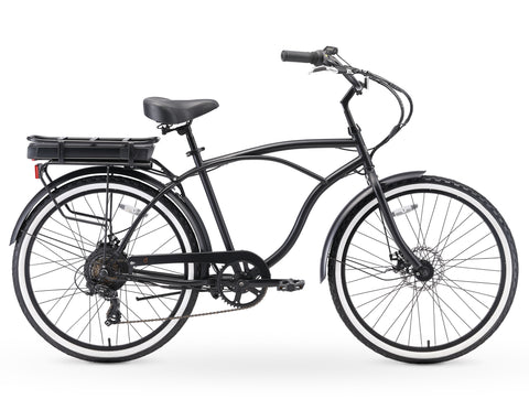 "sixthreezero Around the Block Men's 26"" 250W 7 Speed Beach Cruiser Bicycle"