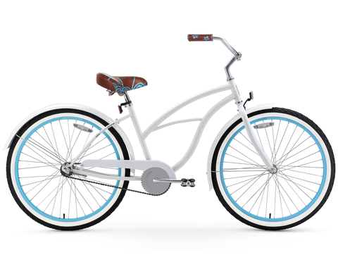 sixthreezero BE Woman - Single Speed White with Blue Rims