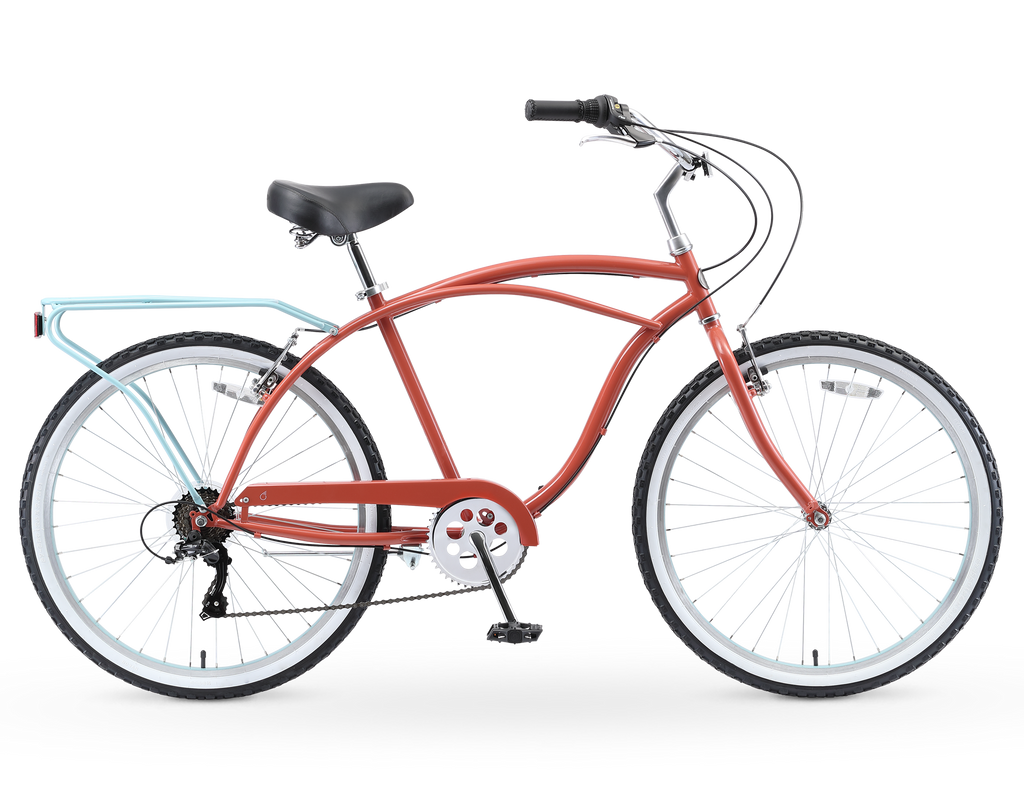 "sixthreezero NEW Around the Block Men's 26"" 7-Speed Beach Cruiser Bicycle with Rear Rack"