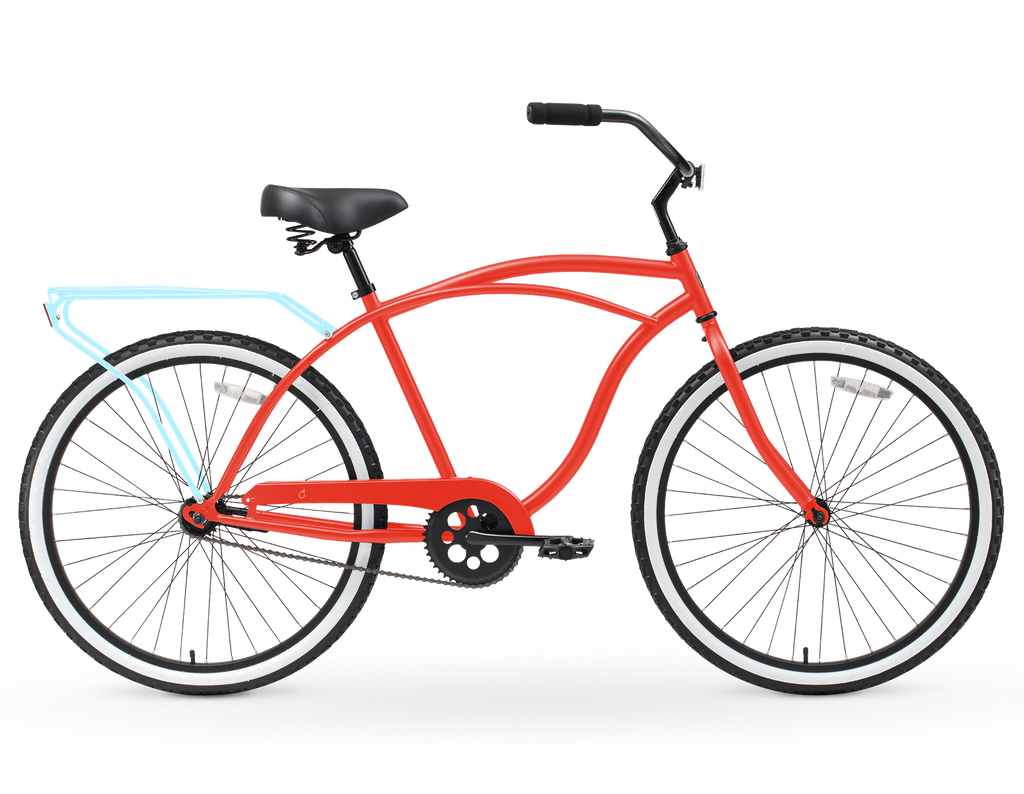 "sixthreezero NEW Around the Block Men's 26"" Single Speed Beach Cruiser Bicycle with Rear Rack"