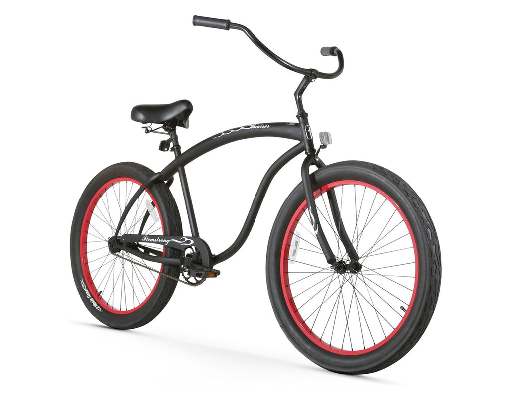 "Firmstrong Bruiser 3.0 Single Single Speed, Matte Black with Red Rims- Men's 26"" Beach Cruiser Bike"