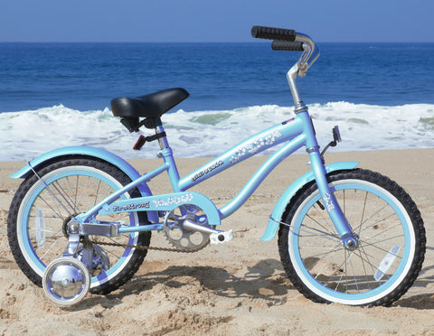 "Firmstrong Mini Bella Girl 16"" - Beach Cruiser Bicycle w/ Training Wheels"