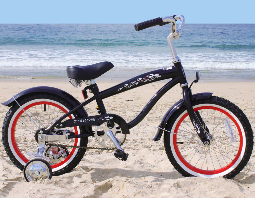 "Firmstrong Mini Bruiser 16"" - Beach Cruiser Bicycle w/ Training Wheels, Black w/ Red Rims"