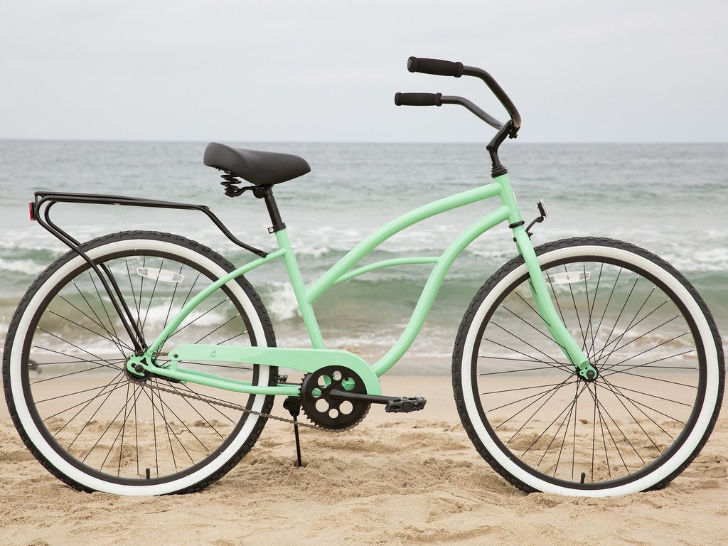 "sixthreezero Around the Block Women's 24"" Single Speed Beach Cruiser Bicycle with Rear Rack"