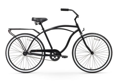 "sixthreezero Around the Block Men's 24"" Single Speed Beach Cruiser Bicycle with Rear Rack"