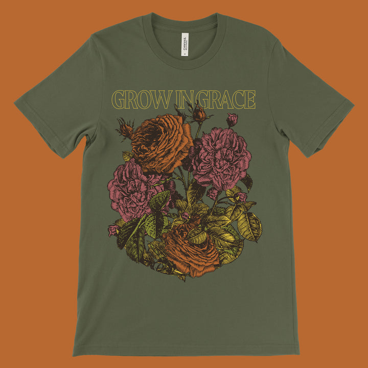 Grow In Grace Unisex Tee - Military Green